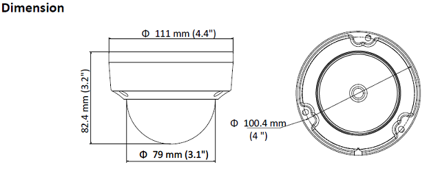 HiWatch Dome IP Camera Dimensions